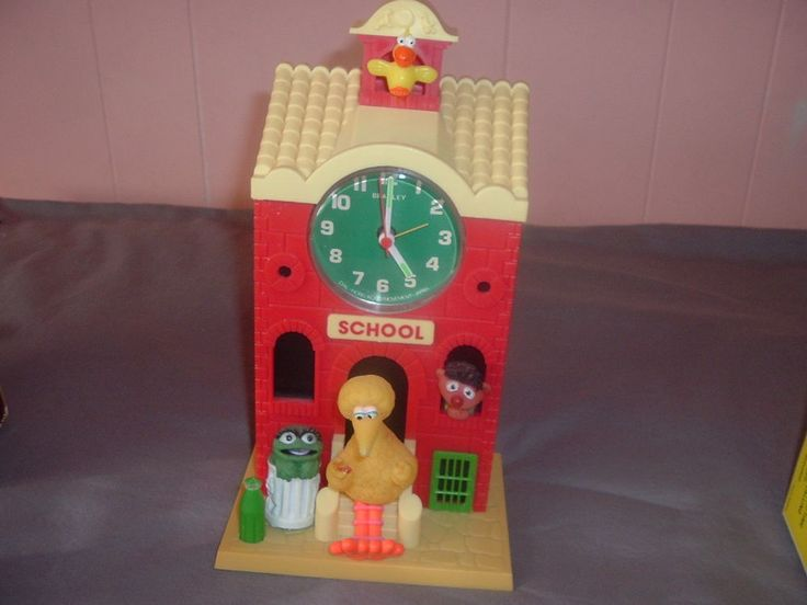 Sesame Street Big Bird Battery Op.Schoolhouse Bradley Talking Alarm Clock,Works. #Bradley