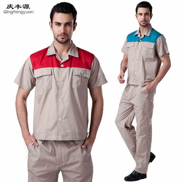 COAT+PANTS short sleeve decoration work coat factory uniform working uniform Big Size Men Coveralls
