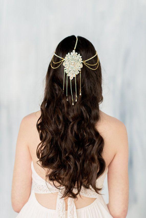 Gold Hair Chain, Draped Chain Headpiece, Gold Headpiece, Crystal Headband, Bohemian Headpiece, Gold Hair Accessory, Gold Crown, ELLARIA
