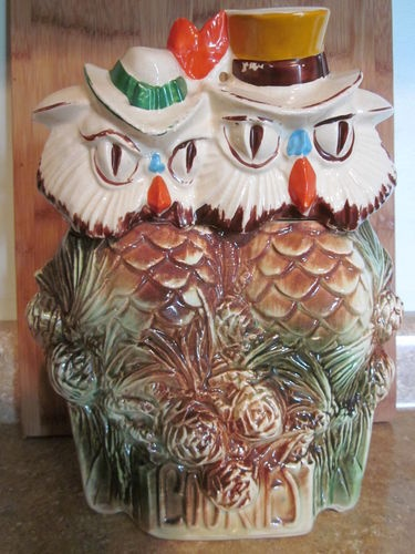Vintage Mccoy Mr And Mrs Owl When Shadows Fall Cookie Jar