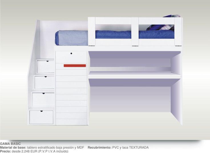 Literas infantiles con escalones armario escritorio extraible canballini mobiliario de alta for Escritorio infantil