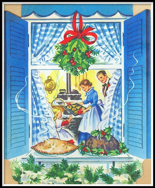 Baking up a wonderful holiday feast. #vintage #Christmas #cards: