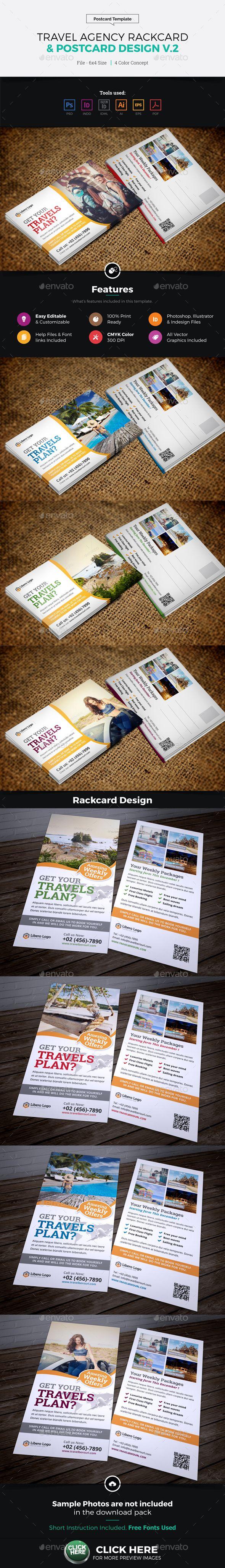 Travel Postcard Rackcard DL Flyer Design Template PSD, Vector EPS, InDesign INDD, AI Illustrator