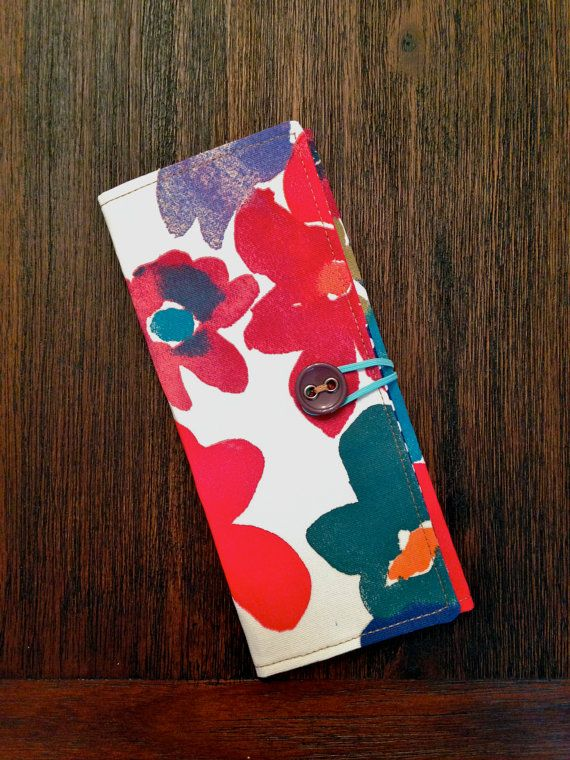 TriFold Tract Holder  Red & Blue Flowers by mtayloredmade on Etsy