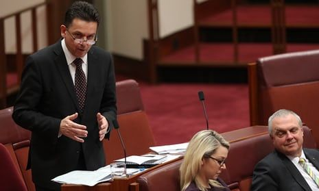 Senator Nick Xenophon during debate in the Senate before the media reforms passed.