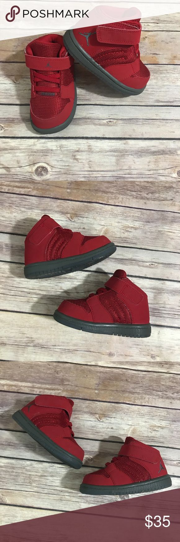 "Nike Air Jordan 1 Flight Toddler 5 Red High Tops Nike Air Jordan 1 Flight Toddler 5 Red High Tops   828244-600 size 5C  Very good used condition with very light toe wear.  Hook and loop closure with elastic ""laces"". Jordan Shoes"
