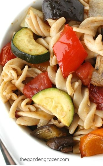 Roasted Vegetable Pasta with Garlic and Balsamci