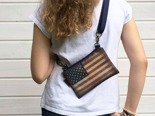 Handmade Canvas Crossbody and Belt Bag - US Flag Design