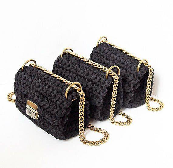 Black classic handbag with shoulder chain strap  Long sliding