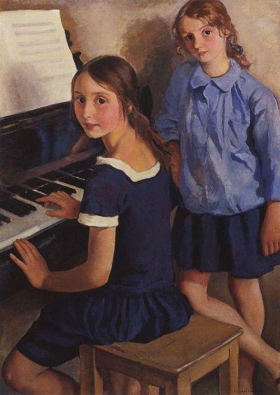 Зинаида Серебрякова. Дочери у рояля.
