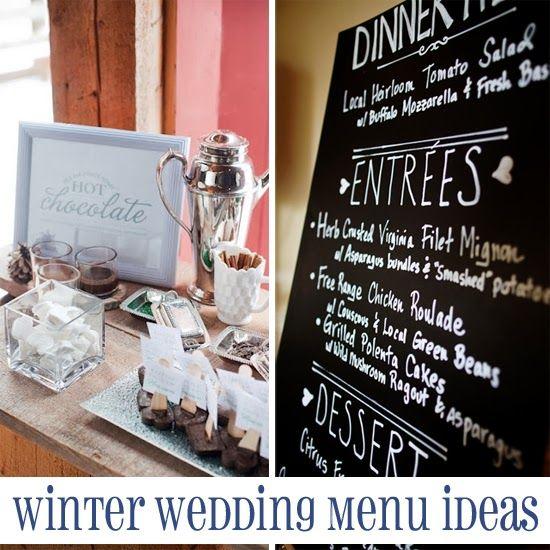 Winter Wedding Menu Ideas  #winter #weddings #food