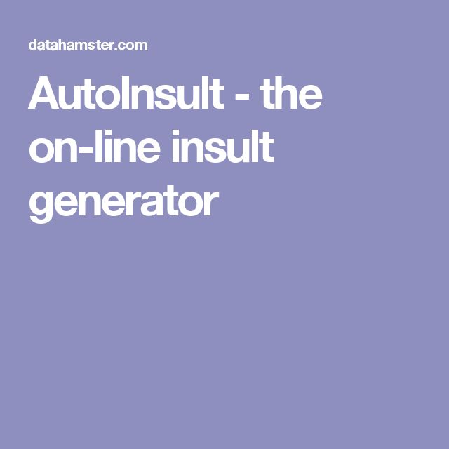 AutoInsult - the on-line insult generator