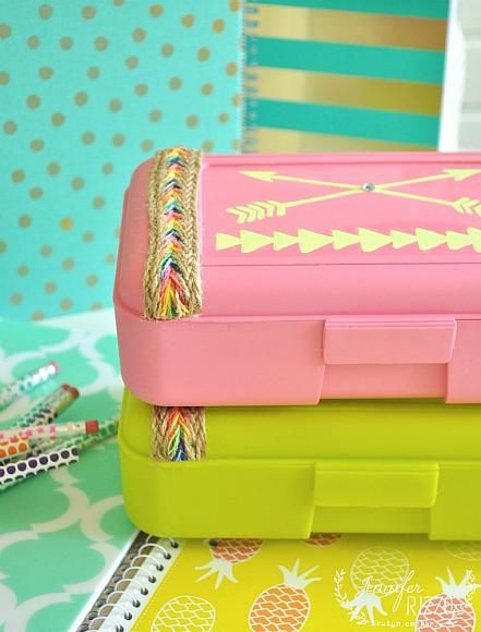 Back to School: DIY Boho Chic Pencil Boxes with Americana Multi-Surface   by @jenrizzo