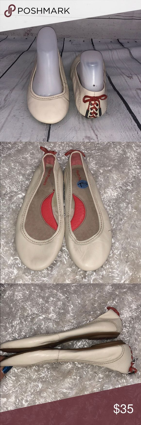 Cream color hush puppies size 7.5 Preloved. So cute!!! Burnt orange leather laced up back! So comfy, size 7.5. Hush Puppies Shoes Flats & Loafers