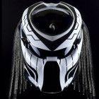 White Predator Helmet, Motorcycle Helmet DOT Approved