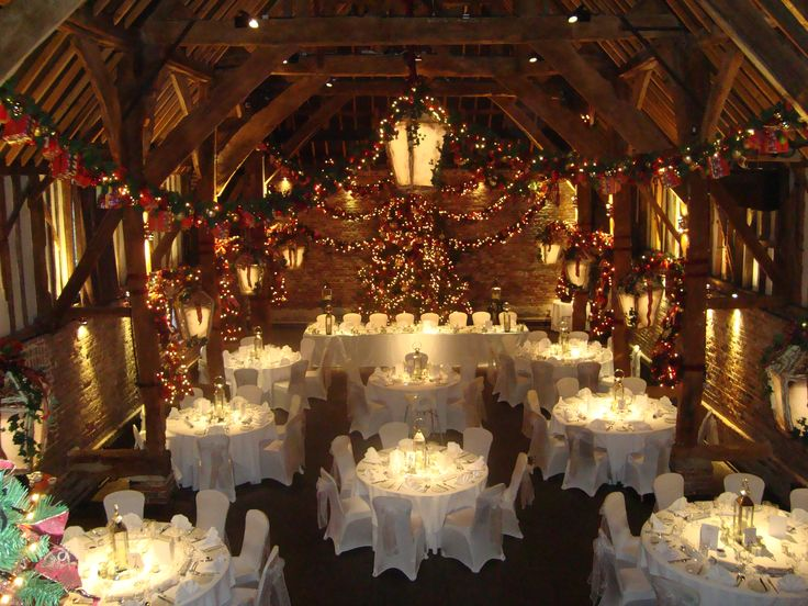 The tithe barn decorated for christmas wedding venue in for Wedding reception location ideas