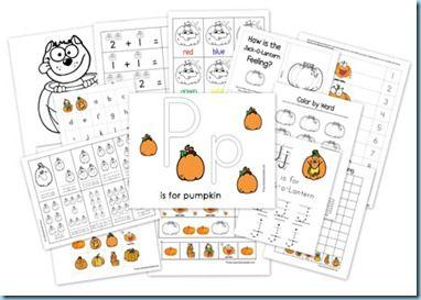 Pumpkin Preschool Pack, free printables.