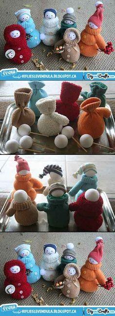 DIY Reutilización de guantes - muñeco de nieve ---------- DIY Cute Snowman…