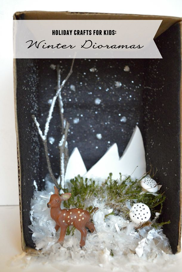 Put together a festive winter diorama with your kids!