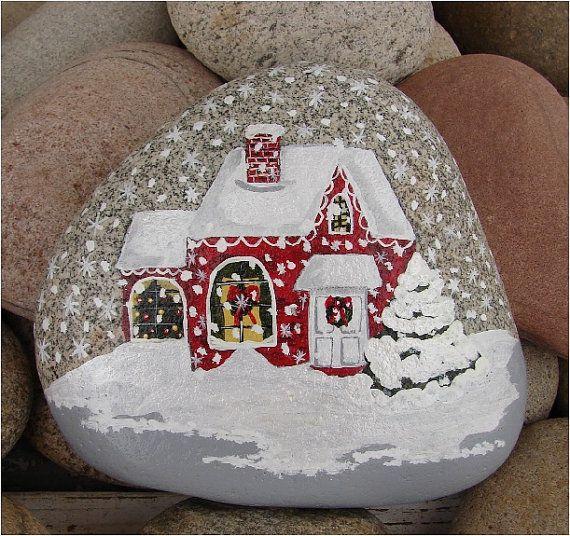Christmas House hand-painted river rock, Christmas gift, rock art