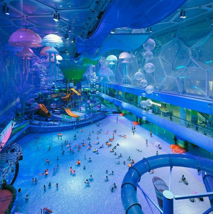 Water Cube aquatic center built for the 2008 Beijing Summer Olympics transformed into Happy Magic Water Park