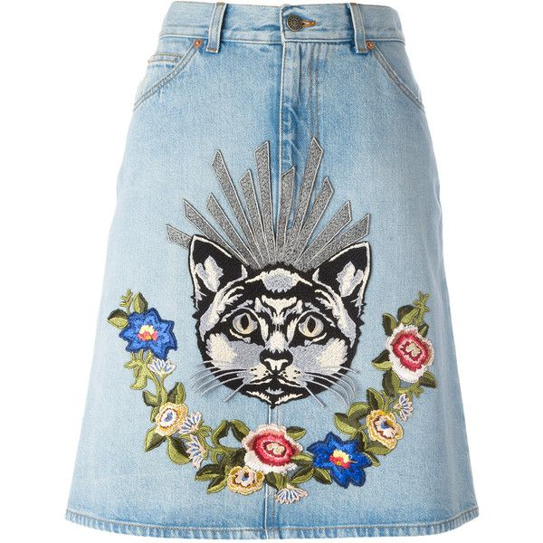 Gucci embroidered denim skirt found on Polyvore featuring skirts, blue, blue a line skirt, a line button skirt, denim skirt, blue floral skirt and button-front denim skirts