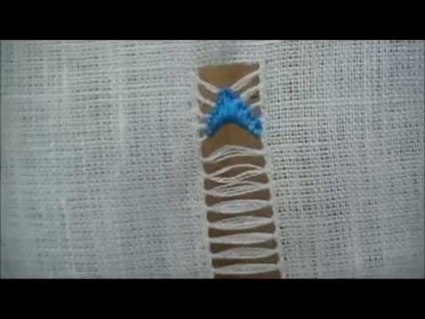 Variante sfilatura con frecce a punto festone - Tutorial ricamo a mano
