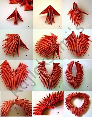 diy 3d heart origami