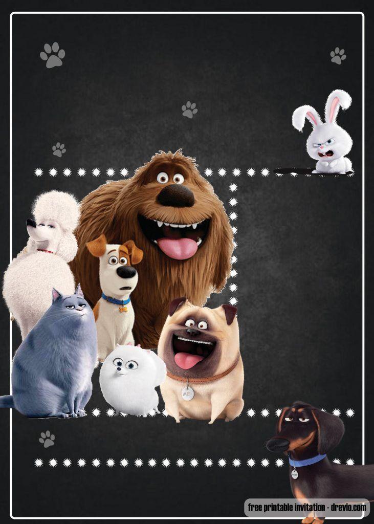 Free Secret Life Of Pets Invitation Template Drevio Secret Life Of Pets Animal Party Animal Birthday