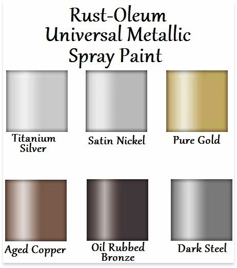 Rust Oleum Universal Metallic Spray Paint Color Chart Need To Know Pinterest Spray Paint