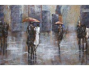 Schilderij 3D metaal Wandelaars met paraplu