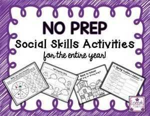 Speech Time Fun: No Prep Social Skills Activities for the entire year!!