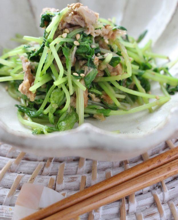 豆苗とツナの和え物、ゆず胡椒風味 by さっちん (佐野幸子)