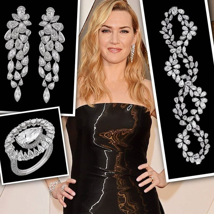 Kate Winslet or Queen of Diamonds! Earrings and bracelet from the Luminance collection and Ceslestial ring. Different cuts but only white diamonds!!!! By Nirav Modi. Dress by Ralph Lauren. __________ Kate Winslet o la Reina de Diamantes! Pendientes y pulsera de la colección Luminance y anillo Celestial. Diferentes tallas pero sólo diamantes blancos!!! De Nirav Modi. Vestido de Ralph Lauren. __________ #DeJoyaEnJoya #FromJewelToJewel #InstaJewels #oscars #Oscars2016 #OscarsJewelry…