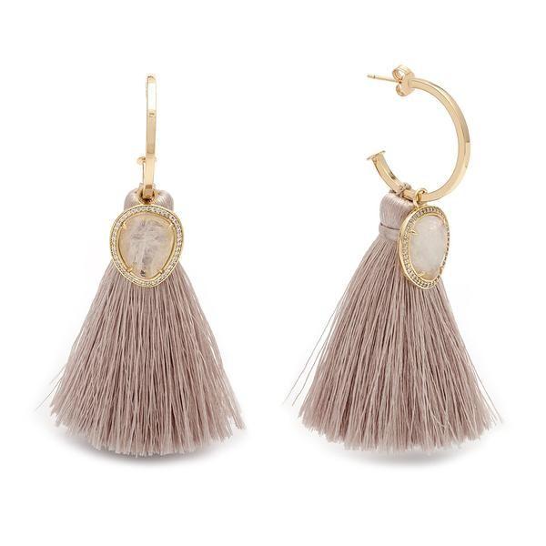 Stone Huggies With Tassels-Moonstone/Champagne – Melanie Auld Jewelry Canada