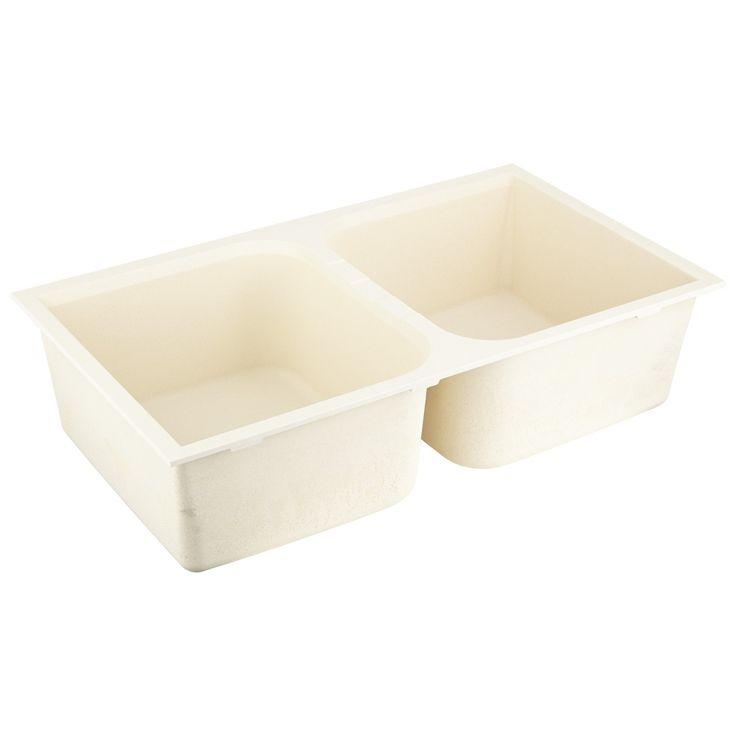 "33""+Evart+Double-Bowl+Undermount+Granite+Composite+Sink+-+Cream"