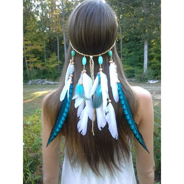 Turquoise Princess - Feather headband, native american, indian... ($55) ❤ liked on Polyvore featuring accessories, hair accessories, hair, braided headband, hippie braided headband, knotted headwrap, beaded headband and indian feather headband