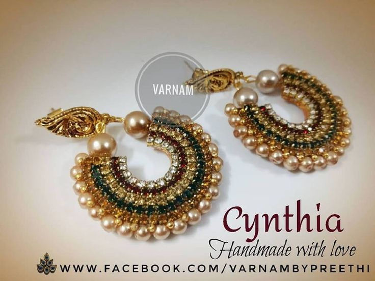 This combination of green, maroon and gold is an all time hit because it goes with literally any traditional attire.. :) Code name: Cynthia handmade paper based Bali earrings with these super vibrant rhinestones :) #handmade #varnambypreethi #chennai #cynthia #earring #rhinestones #paperbase #balistyle #traditional