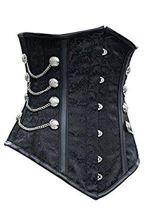 r-dessous Vintage Unterbrust Taillen Corsage schwarz Korsett Steampunk Gothic Punk Groesse: S: Amazon.de: Bekleidung