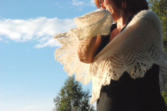 Hand Knit Bridal Shawl Rustic Knit Lace Wedding by aboutCRAFTS