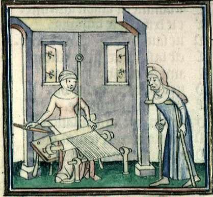 Ovide, Métamorphoses (1385 env.),  Bibliothèque municipale de Lyon, Ms.742, f°97v, « Pallas allant voir tisser Arachné ».
