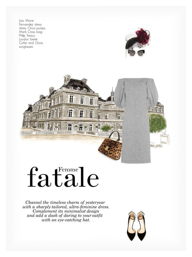 """""""FEMME FATALE"""" by paint-it-black ❤ liked on Polyvore featuring Lisa Marie Fernandez, Cutler and Gross, Mark Cross, Philip Treacy, Jimmy Choo, cleanlines, boldaccessories, TimelessChic and SharpTailoring"""