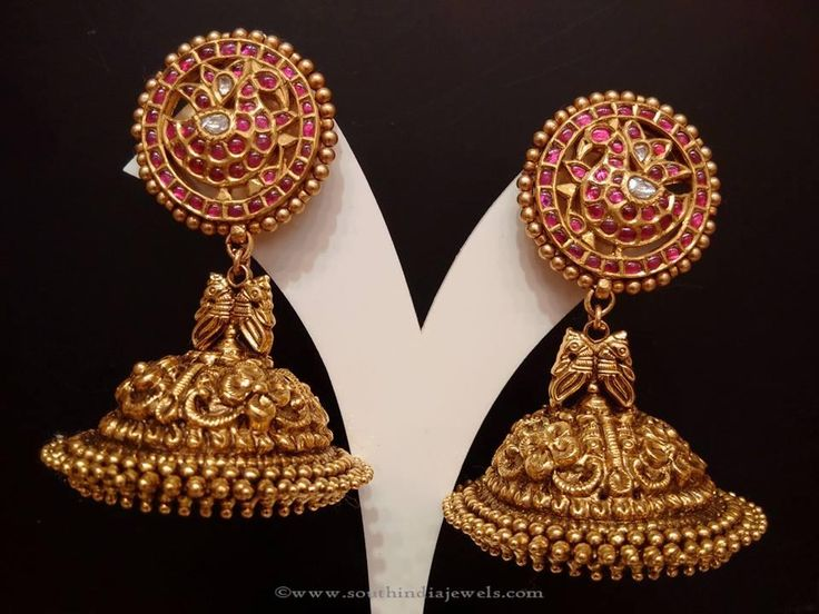 Gold Antique Jhumkas, Gold Ruby Jhumka Designs, Gold Bridal Jhumkas with Rubies.
