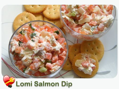 Hawaiian Food Recipes -  1 block (8 oz.) cream cheese 1 container (14 oz.) lomi lomi salmon  Soften cream cheese. Drain lomi salmon and mix together with cream cheese. Serve with your favorite chips, cracker and vegetables.