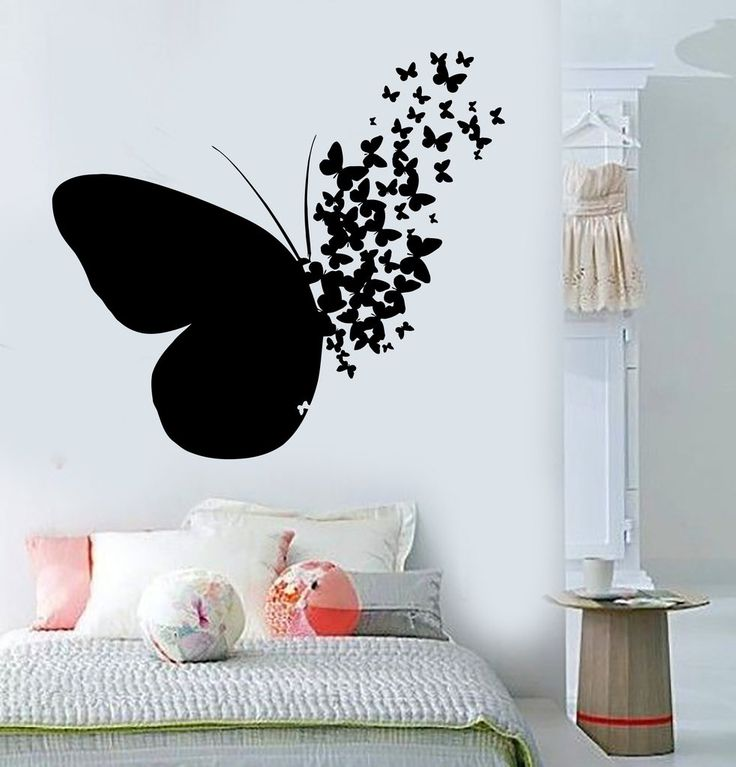 Vinyl wall decal butterfly home room decoration mural for Vinyl records decorations for wall