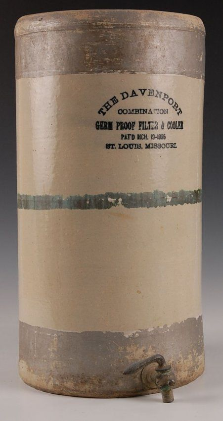 ANTIQUE STONEWARE WATER COOLER WITH ADVERTISING 1895 On