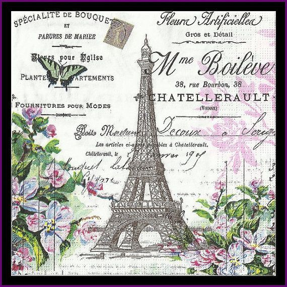 Eiffel Tower Decoupage Paper Scrapbooking Paper Mixed Media Altered Art Paper Lunch Napkin Tissue Paper