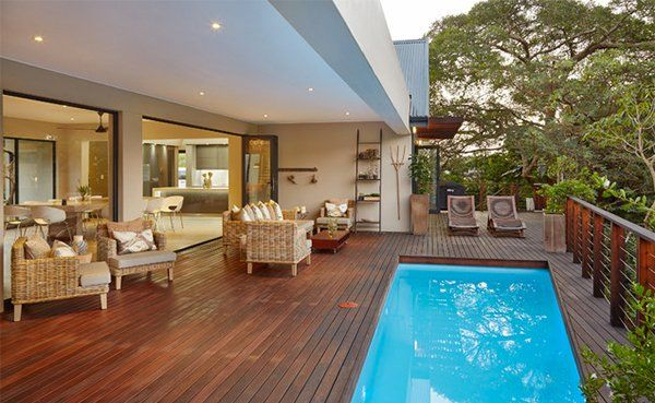 hardwood swimming pool decks