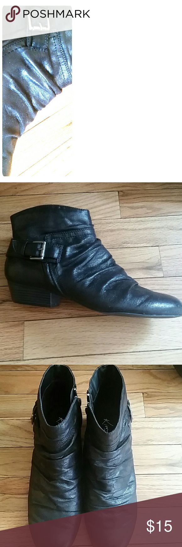 Ladies Black Ankle Boot Super cute black distressed ankle boot. In great shape. Also a available in brown. Very comfortable and true to size. Kim Rogers Shoes Ankle Boots & Booties