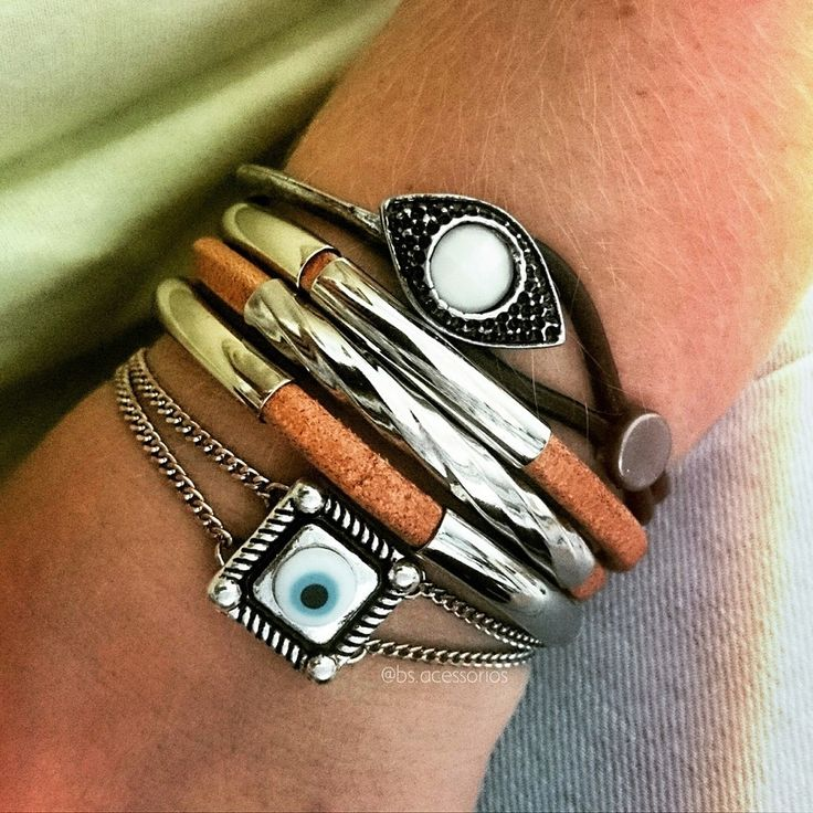 Pulseira voltas Couro - Beth Souza Acessórios,Pulseira olho grego,pulseirismo verão 2016,bijoux de luxo,acessórios moda boho, bijoux olho grego,pulseiras prata